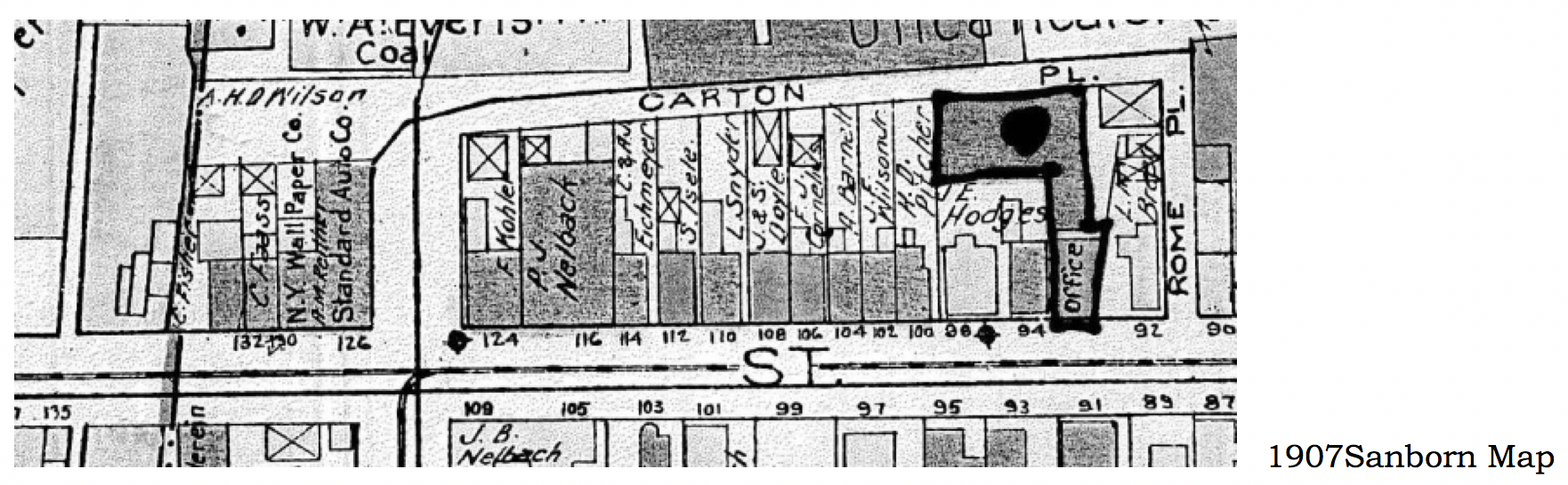 POLICE STATION FAYETTE ST TO COURT ST ATLAS MAP CITY HALL 1883 UTICA NEW YORK